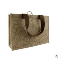涂层黄麻布礼品袋定做 黄麻材质 尺寸及印刷均可定制