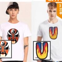 新款立体3D数码印花软贴 个性动态短袖T恤上衣 立体图案服装定制