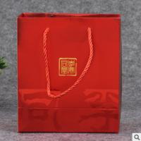 红色烫金礼品包装袋定做环保白卡纸服装购物袋定制方底通用手提袋