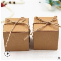 厂家直销折叠复古喜糖小方盒配送麻绳复古牛皮纸喜糖巧克力盒批发