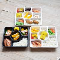 新品促销一次性快餐盒饭盒多格黑色高档加厚打包盒外卖批发