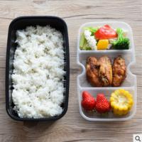 一次性快餐盒饭盒双层饭盒三格内衬黑色高档加厚两层打包盒 外卖