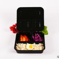 一次性餐盒饭盒黑色三格加厚连盖塑料方形打包盒高端外卖盒150套