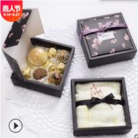 现货韩式高档茶叶手工皂月饼礼盒毛巾衣服包装logo定制XT82