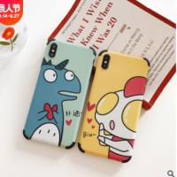 适用可爱恐龙超人苹果8plus手机壳iphonexsmax女款X/XR女7/6s软壳