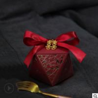钻石形喜糖盒结婚伴手礼喜糖纸盒包装盒子创意欧式糖果盒喜糖礼盒