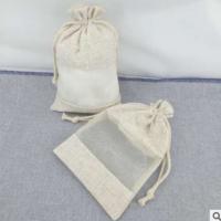 束口麻布袋 亚麻布开窗咖啡豆首饰礼品袋小麻布袋子 干花香薰包袋